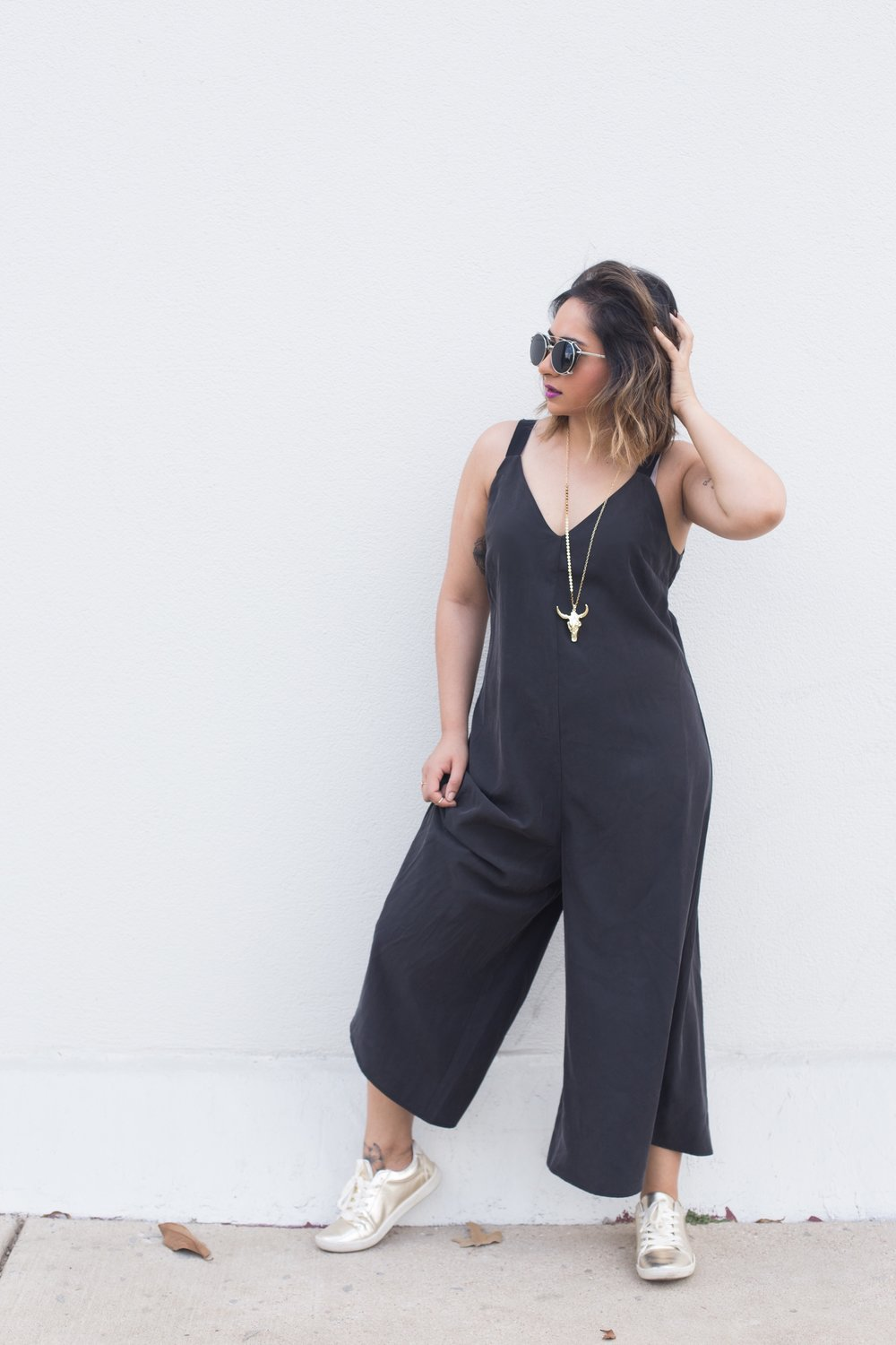 ASOS Black Culottes Jumpsuit | Zara Gold Sneakers