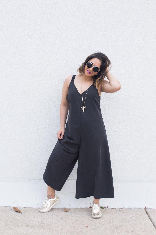 ASOS Black Culottes Jumpsuit | Zara Gold Sneakers 1 .JPG