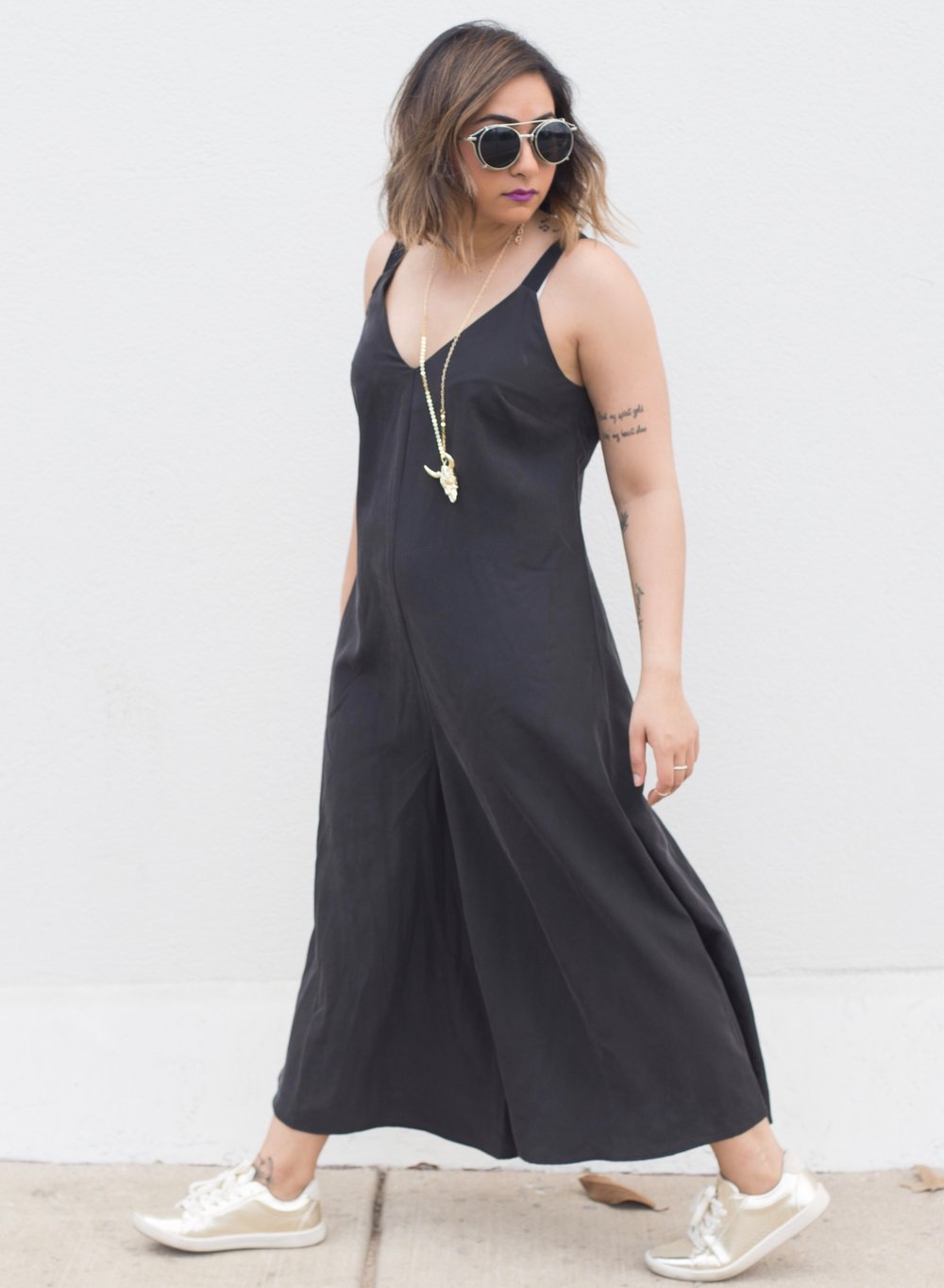 ASOS Black Culottes Jumpsuit | Zara Gold Sneakers 5.JPG