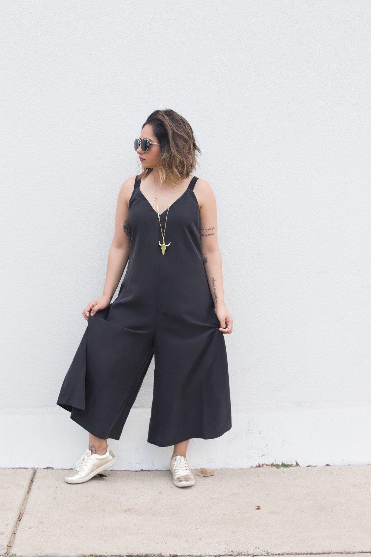 ASOS Black Culottes Jumpsuit | Zara Gold Sneakers 4.JPG