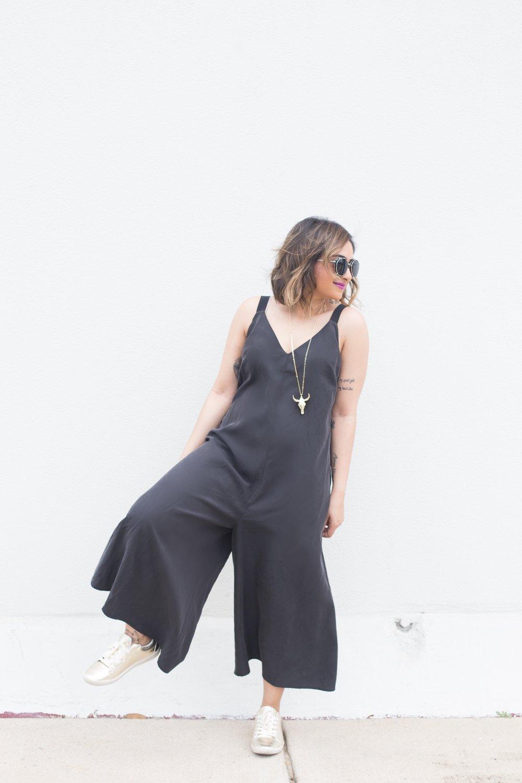 ASOS Black Culottes Jumpsuit | Zara Gold Sneakers 6.JPG