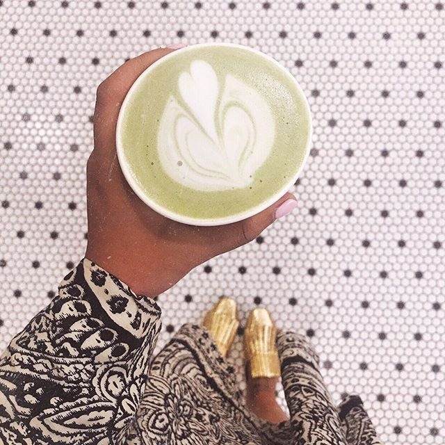 Matcha latte art, pretty tile, dress that matches the pretty tile, and cute shoes. Better believe this moment was photographed✌🏽