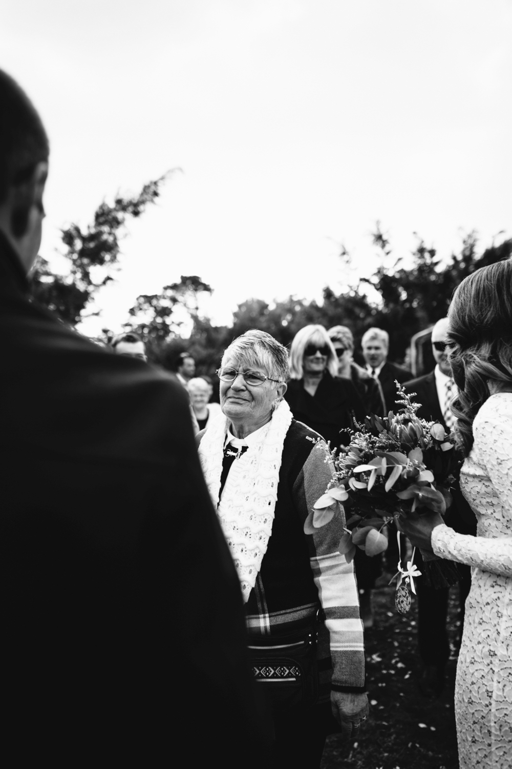 Emotional guest after wedding ceremony.
