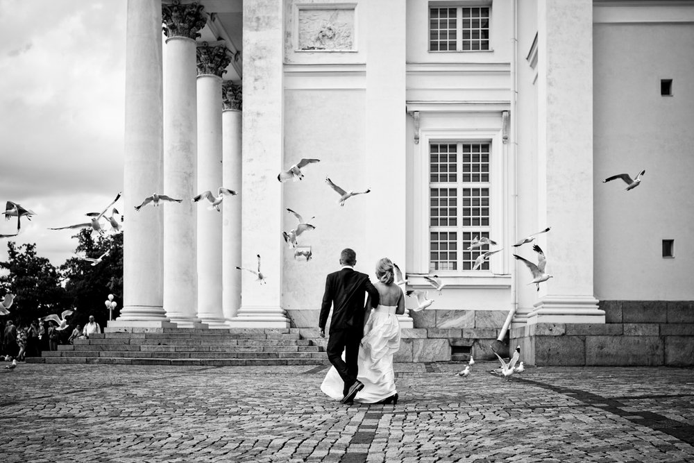 Married couple walk through flying seagulls in front of cathedral in Helsinki Finland.