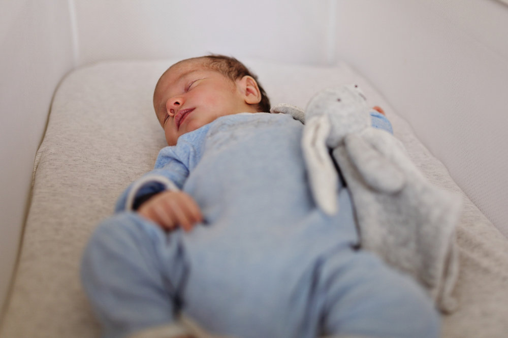 Newborn baby sleeps peacefully in his bassinet during a family photography session.