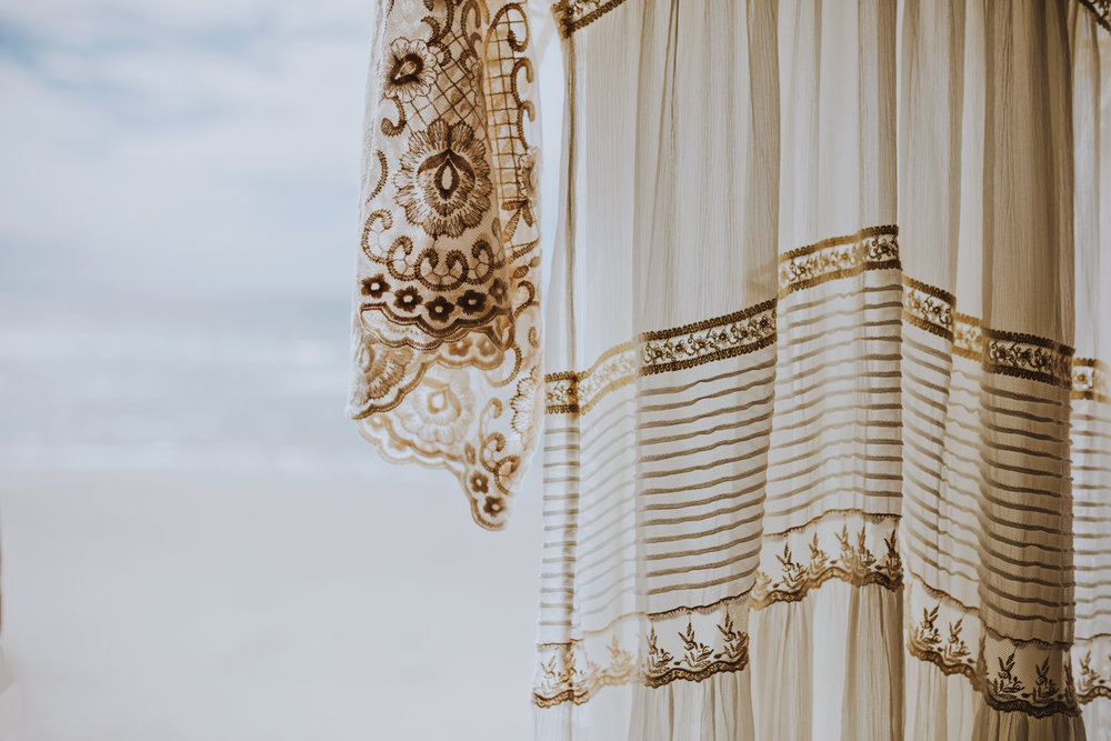 Detail of Spell Designs wedding dress in Byron Bay by Siida Phot
