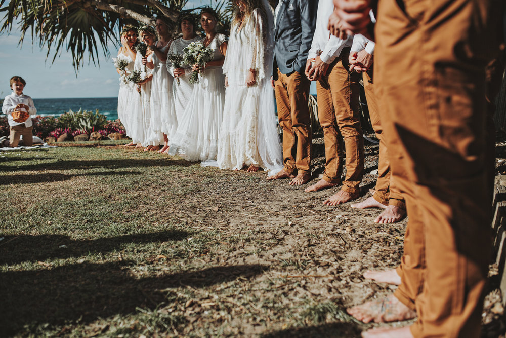Barefoot wedding ceremony by Siida Photography.
