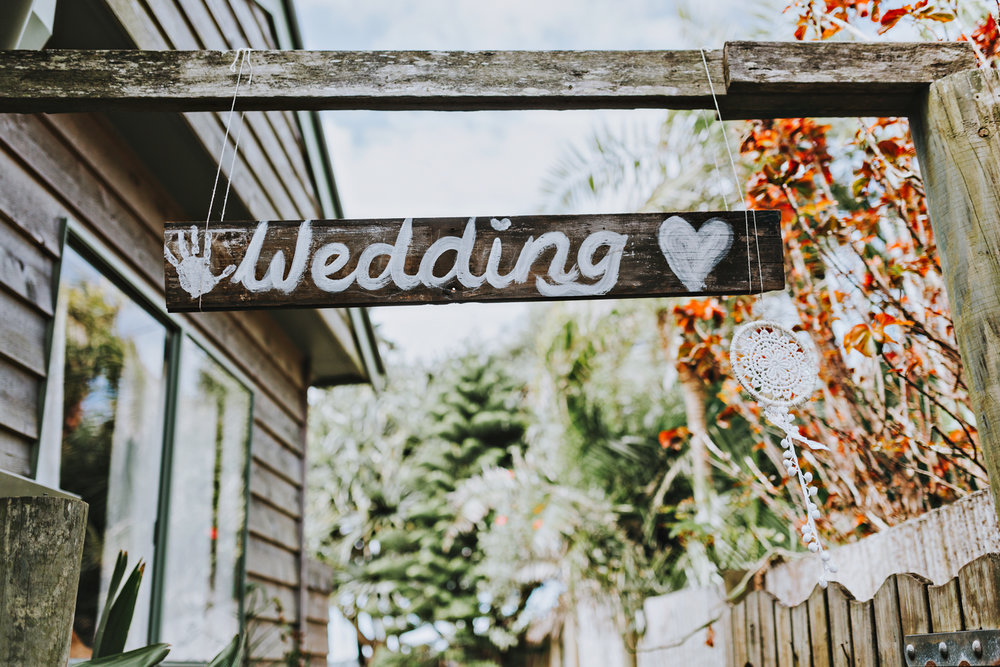 Handmade wedding signage in Byron Bay.