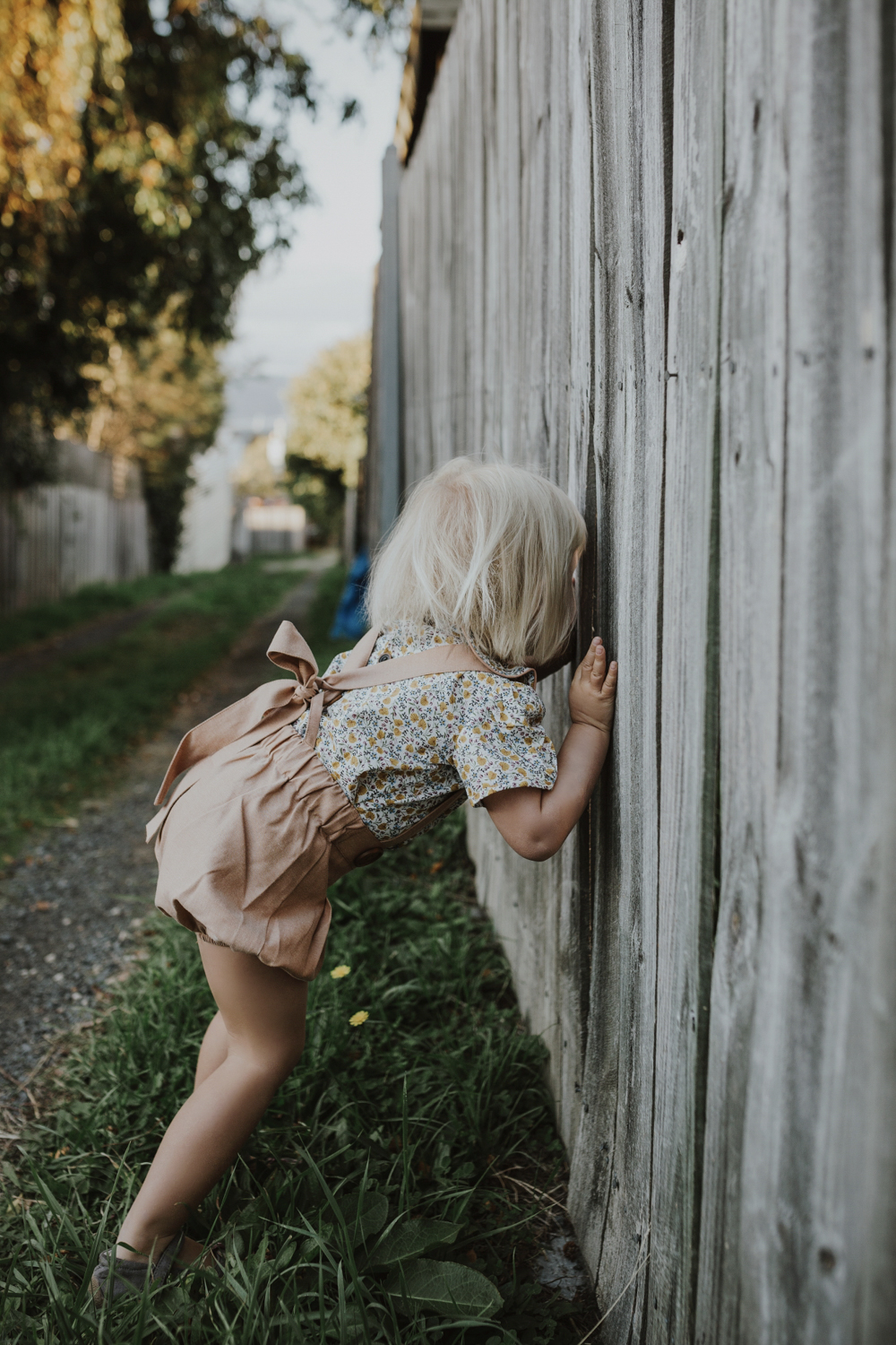 Young girl looks through fence wearing overalls and blouse from