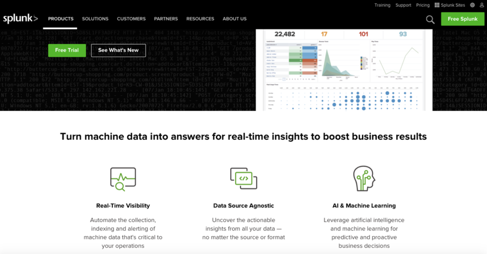 Splunk's website: https://www.splunk.com/