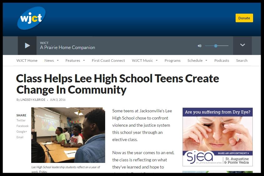 "WJCT: ""Class Helps Lee High School Teens Create Change In Community"""