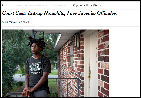 "NYT Article: ""Court Costs Entrap Nonwhite, Poor Juvenile Offenders"""