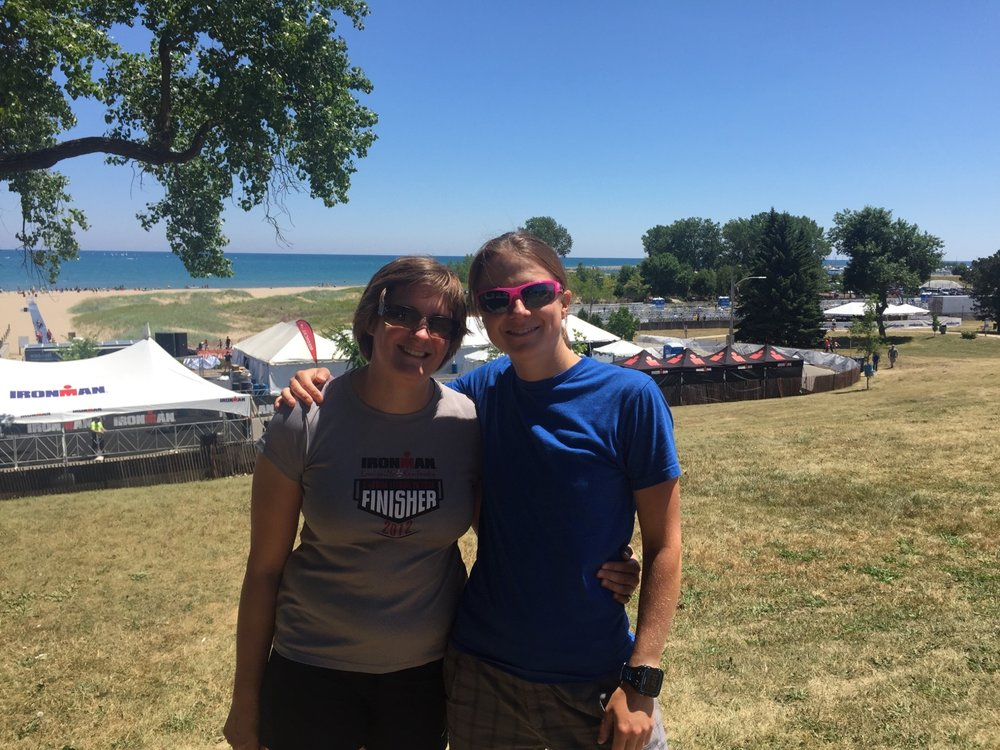 Checking out the swim start with Nicole the day before Ironman 70.3 Racine.
