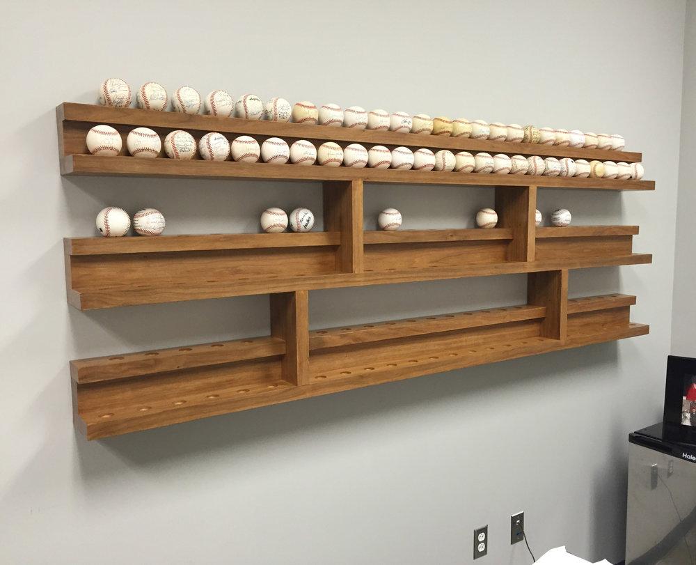 baseball display shelving lafrentz wood workshop rh lafrentzwoodworkshop com Baseball Cap Display Shelf 12 Baseball Display Shelf