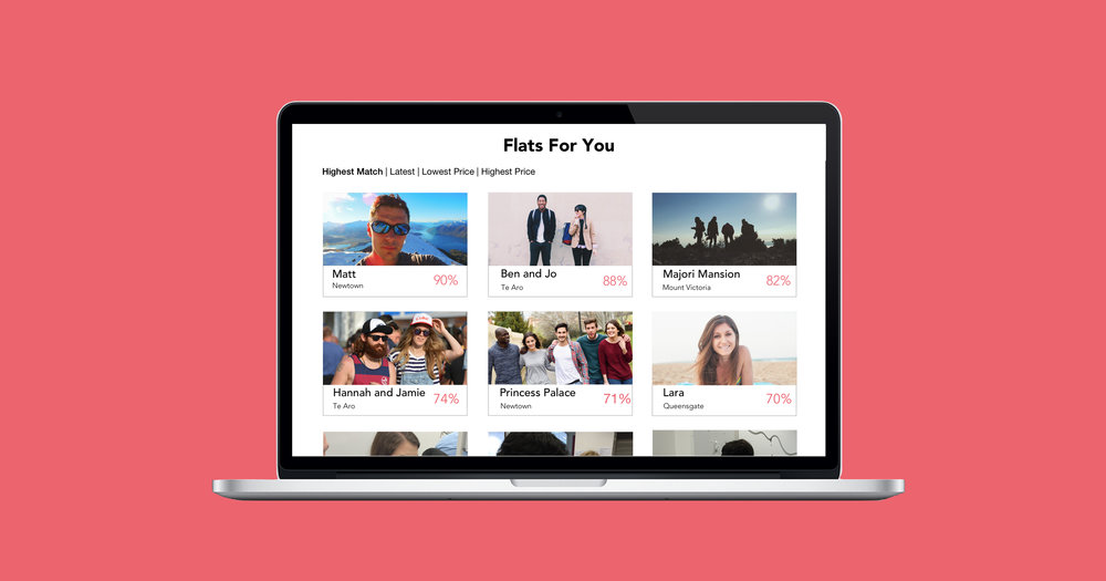 Flats matched up based on the similarity of Spotify playlists