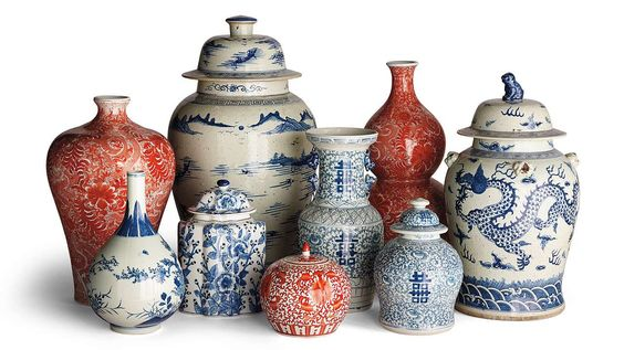 We can never have enough ginger jars! How about adding a pop of red to your collection.