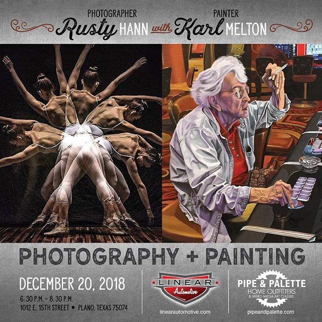 Join us this Thursday, December 20 from 6:30-8:30pm!! We have Loose Gravel Band playing, free drinks and great art by @rustyhann and @meltonkarl ! Come drink and be merry and get your last minute shopping in! . . . #artexhibition #fineart #cheers #christmasshopping #freedrinks #thirstythursday #thursdaymotivation #winelover #artlovers #downtownplano #planotexas #loveplano