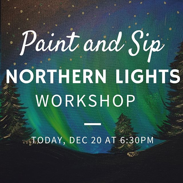 Join us tonight for a Northern Lights workshop at 6:30pm! Come with your own drink 🍷🍺🍸🍹 and we have the art covered! No talent needed. We will help you step by step :) Click link in bio 👆🏻 and book your seats! Only 5 seats left! Hurry before we are sold out. . . . . #merrychristmas #paintandsip #cheers #wino #northernlights #tistheseason #letsbemerry #downtownplano #planotexas #plano #loveplano #planomoms #beerlover