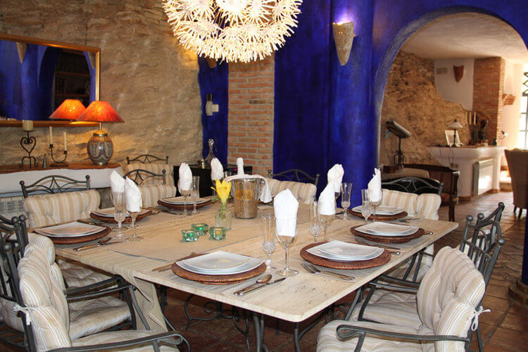 Dining room for large groups in holiday villa Spain