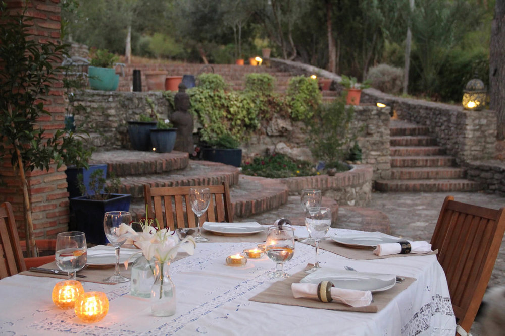 Dining in Ronda, Spain: Terrace with a view at luxury villa rental La Cazalla de Ronda