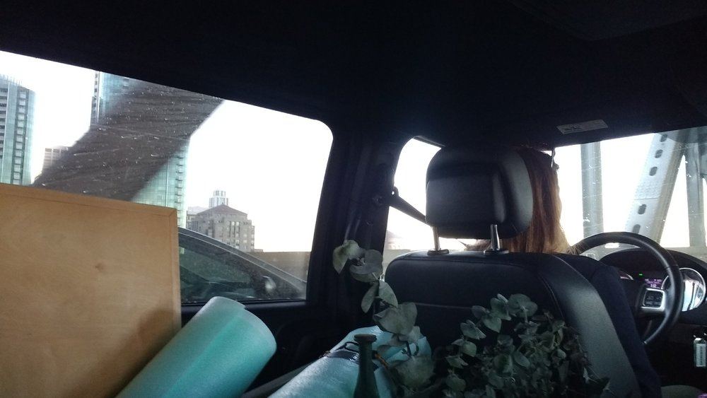 A friend's view from the floor of the back of the van as I drove us over to the East Bay