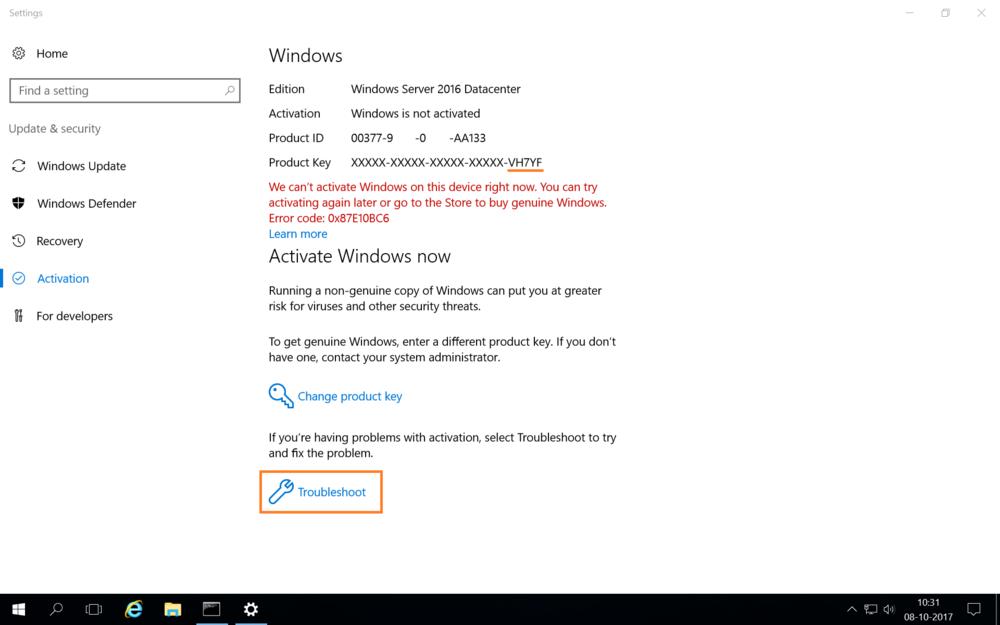 windows server 2016 activation change product key