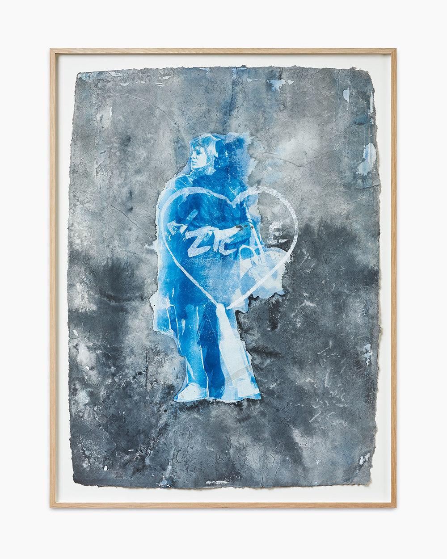 Lukas Goersmeyer Folie à deux 2016  Mischtechnik auf Jeanspapier 84 x 63,5 cm