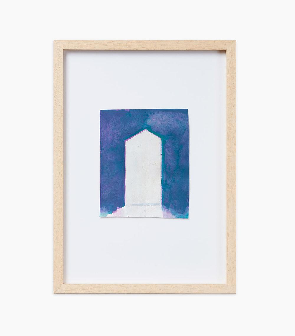 Walter Dahn Stele 2015  Wasserfarben auf Papier 13,3 x 11,2 cm