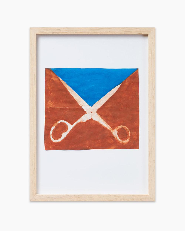 Walter Dahn Palermo's Schere III 2016  Wasserfarben auf Papier 14,7 x 17 cm