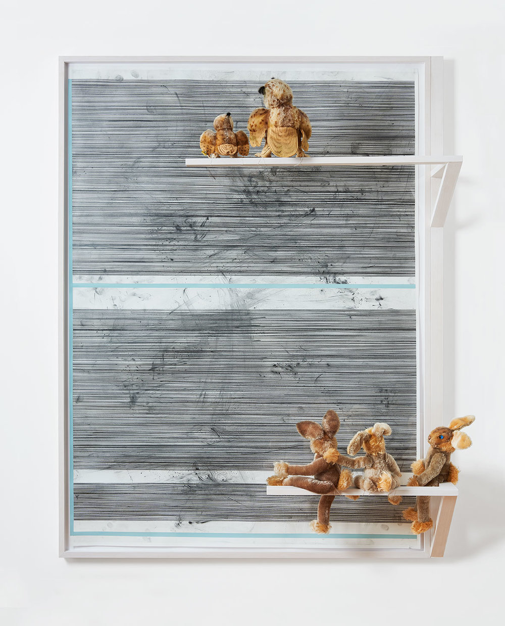Philip Emde Ohne Titel (Wittie + Lulac watching swipes'n stripes) 2016  Graphit und Acryl auf Papier gerahmt mit Steiftieren 156,5 x 120 x 32 cm
