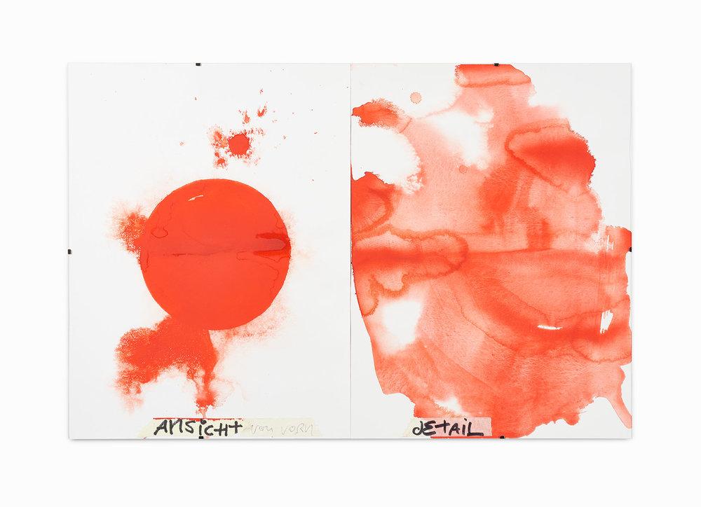 Tilo Riedel Ansicht von vorn/Detail 2016  Aquarell Klebeband Filzstift auf Papier 40 x 60 cm