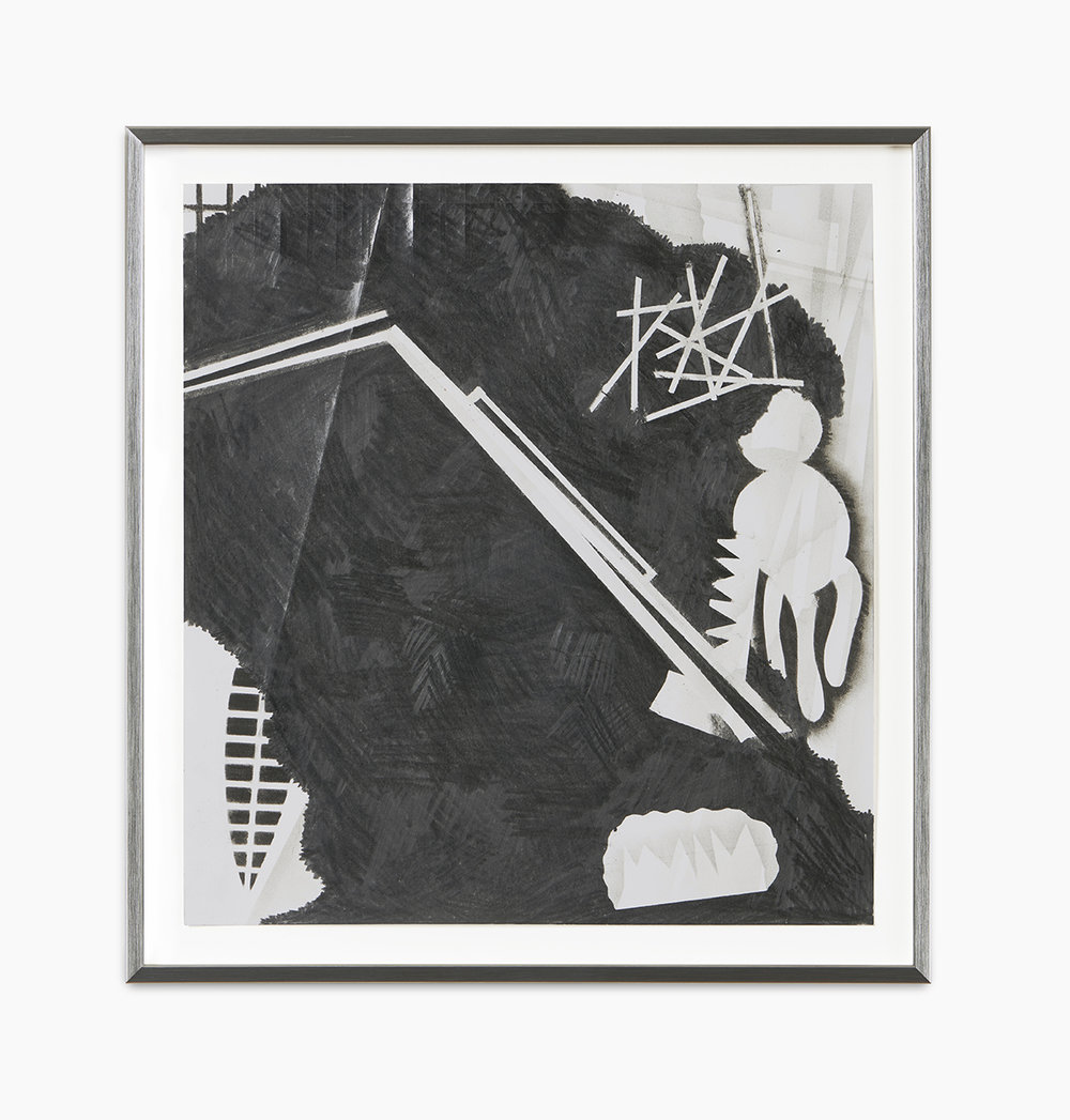 Jochen Arentzen Mit Krücken gegen Regen winkend 1 2016  Graphit auf säurefreiem Römerturm Papier 2-teilig je 32 x 29,7 cm