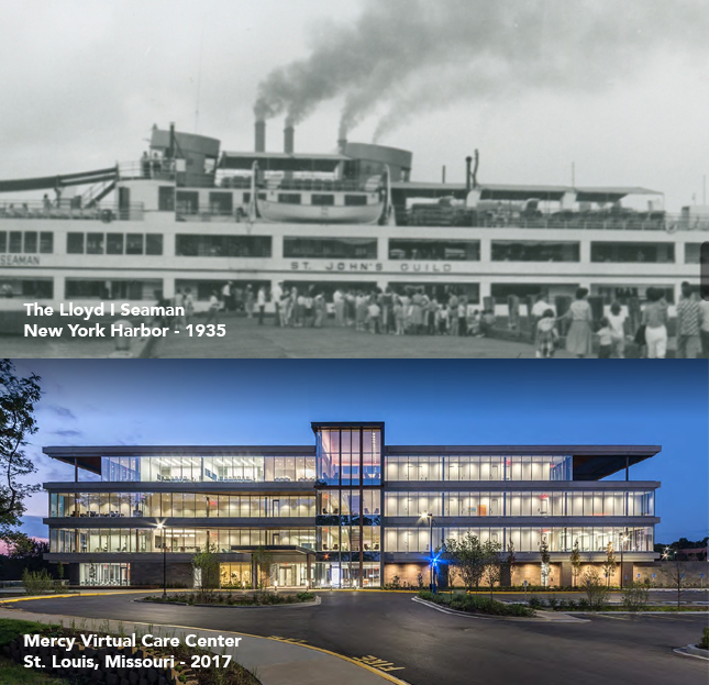 Pictured above: The Floating Hospital of the past and that of the future - one by sea, one by 'the cloud.'