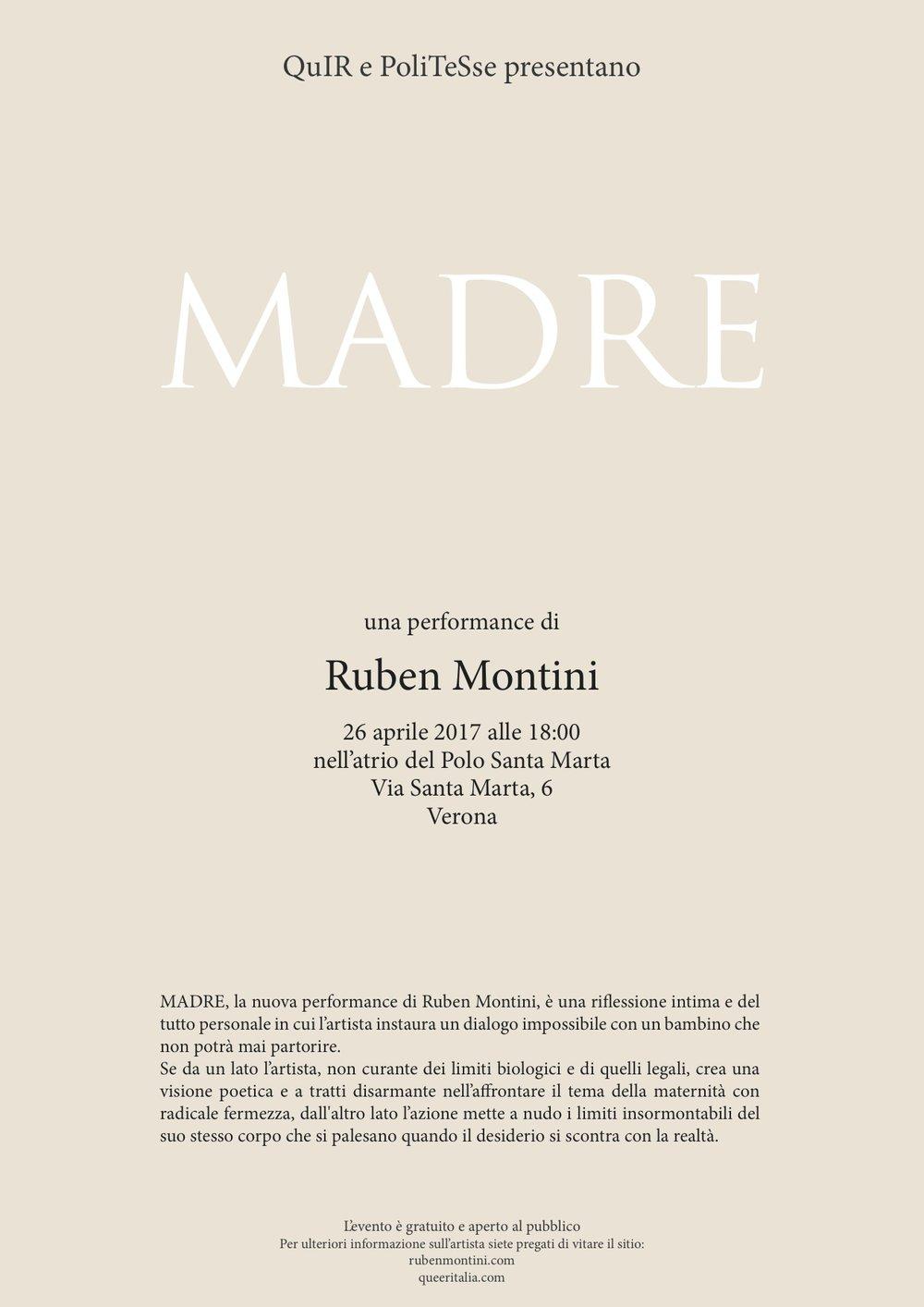 Invitiamo tutt* anche a una performance di Ruben Montini. L'evento è gratuito e aperto al pubblico.