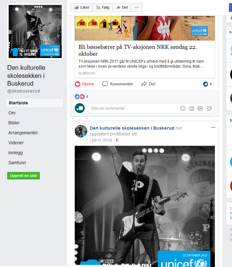 Faksimile fra Den kulturelle skolesekken Buskeruds Facebook-side, med spesialtilpasset profilbilde og oppfordring om bøssebæring.