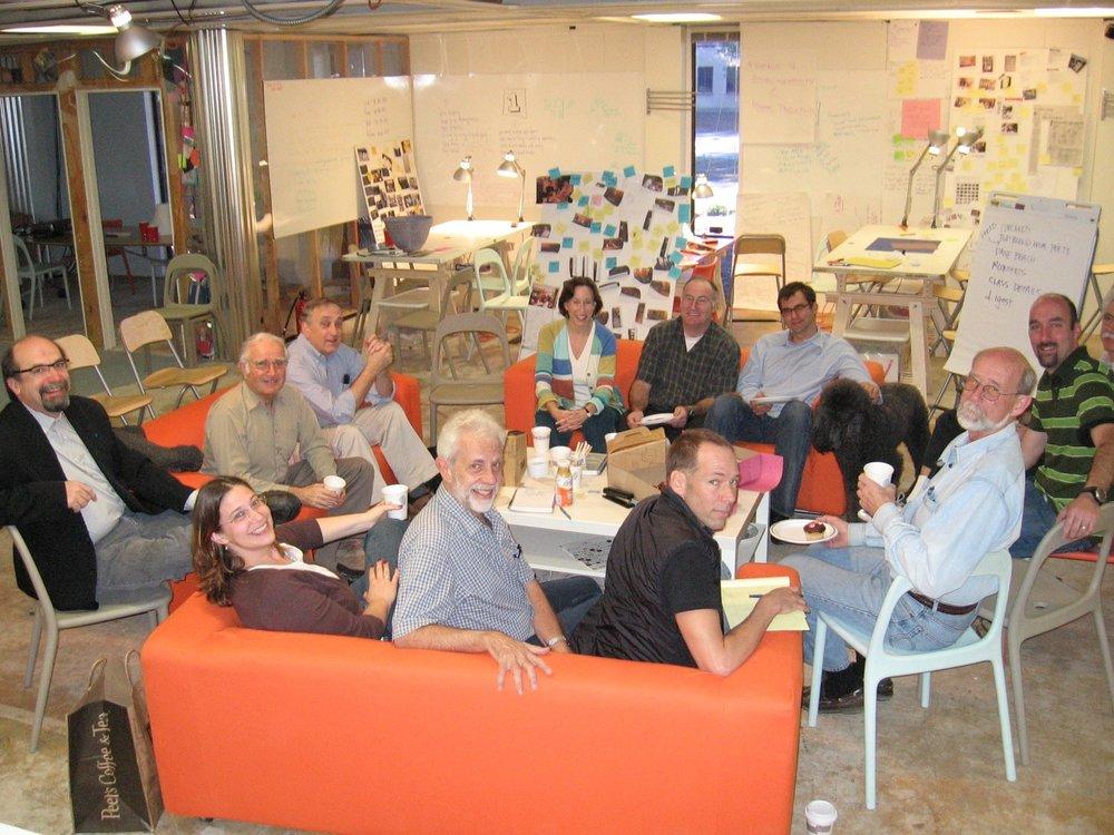 The d.school's early cohort (clockwise from left): David Kelley, Bernie Roth, Jim Patell, Tina Seelig, Bob Sutton, Alex Kazaks, George Kembel, Dave Beach, Perry Klebahn, Julian Gorodsky, Charlotte Burgess-Auburn