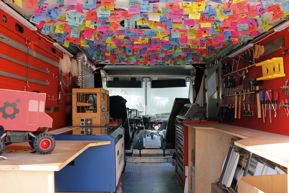 Inside view of the truck