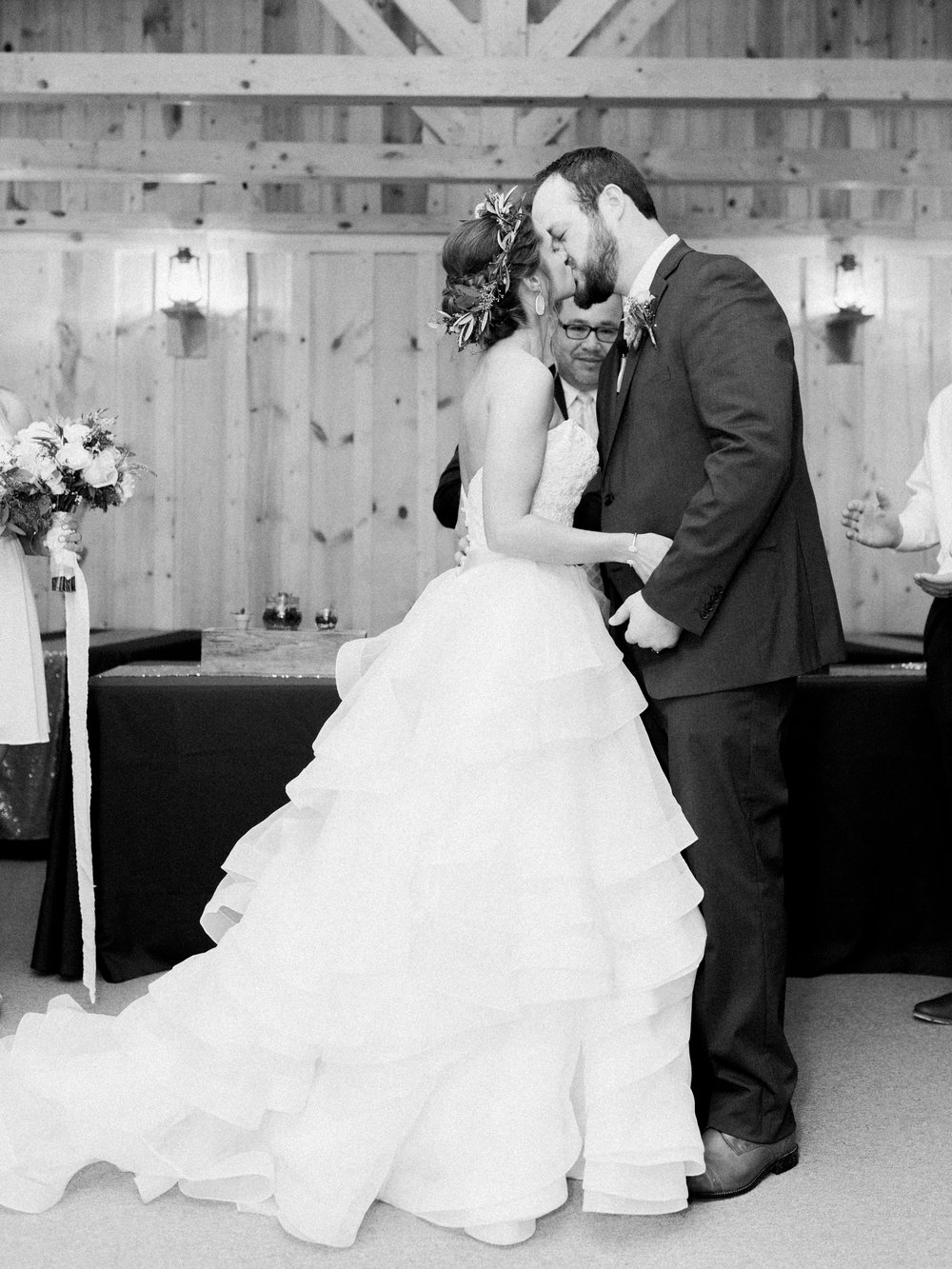 Hill Country Spring Wedding at Red Bud Hall | Austin Wedding Photographer | Film Wedding Photographer | Britni Dean Photography | Rainy Day Wedding Inspiration | bride and groom first kiss