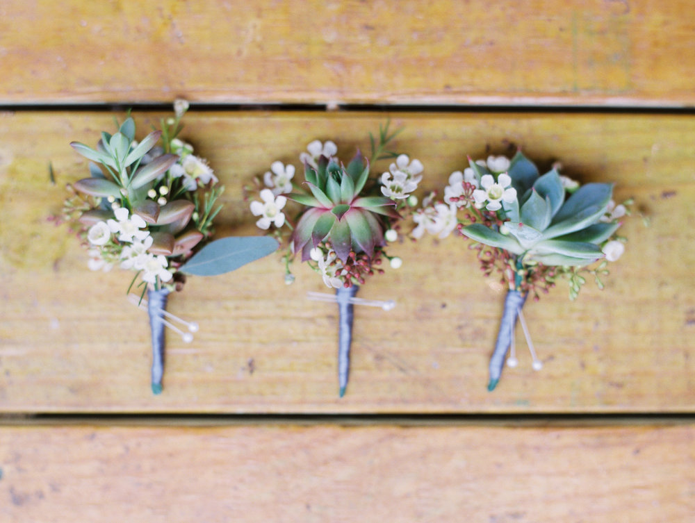 Hill Country Spring Wedding at Red Bud Hall | Austin Wedding Photographer | Film Wedding Photographer | Britni Dean Photography | Rainy Day Wedding Inspiration | succulent boutonniere