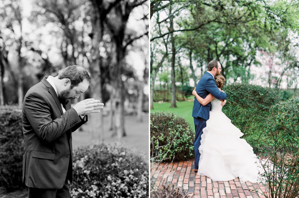 Hill Country Spring Wedding at Red Bud Hall | Austin Wedding Photographer | Film Wedding Photographer | Britni Dean Photography | Rainy Day Wedding Inspiration | wedding first look