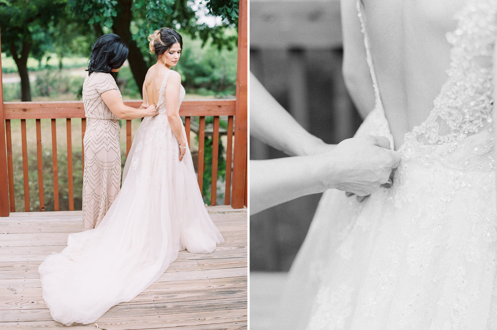 Elegant Spring Vineyard Wedding | Film Wedding Photographer | Austin Wedding Photographer | Bride Getting Into Dress | Britni Dean Photography // britnidean.com