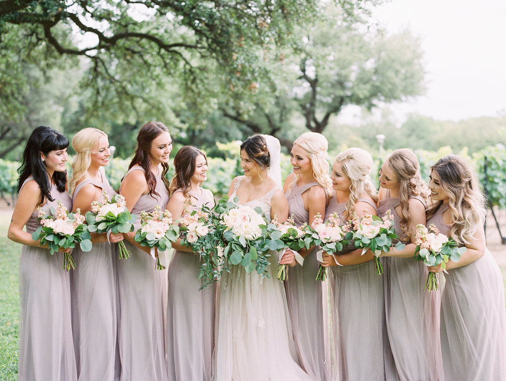 Elegant Spring Vineyard Wedding | Film Wedding Photographer | Austin Wedding Photographer | Romantic Neutral Bridesmaid Dresses, Simple Bride Bouquet | Britni Dean Photography // britnidean.com