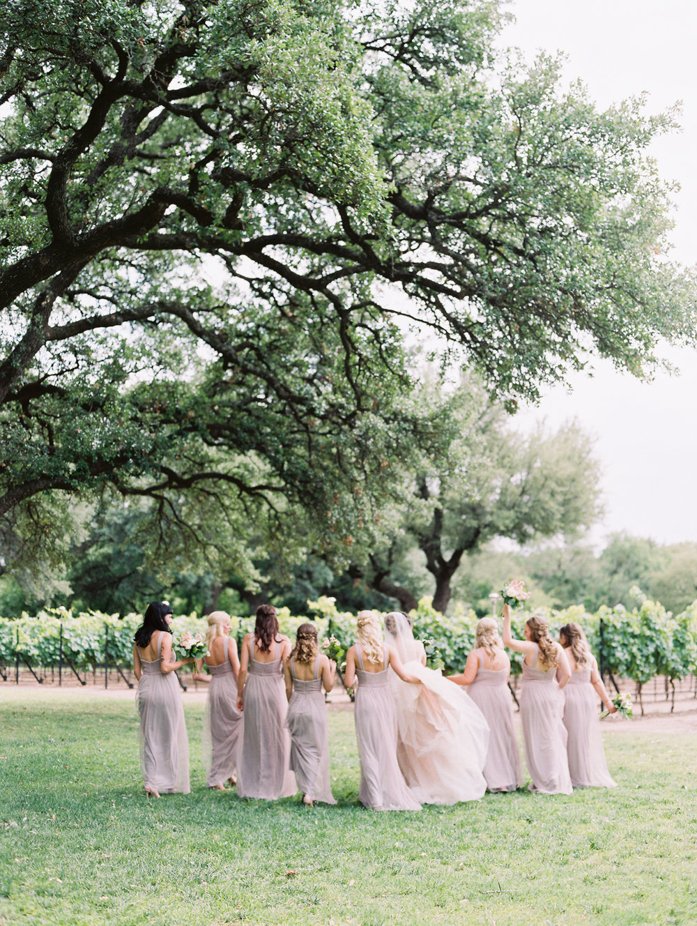 Elegant Spring Vineyard Wedding | Film Wedding Photographer | Austin Wedding Photographer | Romantic Taupe Bridesmaid Dresses | Britni Dean Photography // britnidean.com