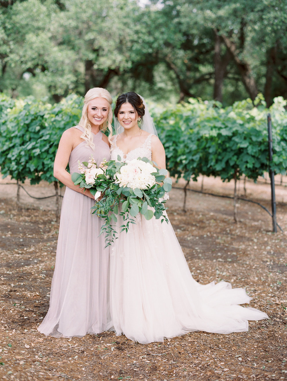 Elegant Spring Vineyard Wedding | Film Wedding Photographer | Austin Wedding Photographer | Romantic Neutral Bridesmaid Dresses | Britni Dean Photography // britnidean.com