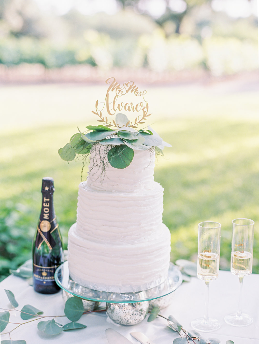 Elegant Spring Vineyard Wedding | Film Wedding Photographer | Austin Wedding Photographer | Simple White Wedding Cake with Flowers | Britni Dean Photography // britnidean.com