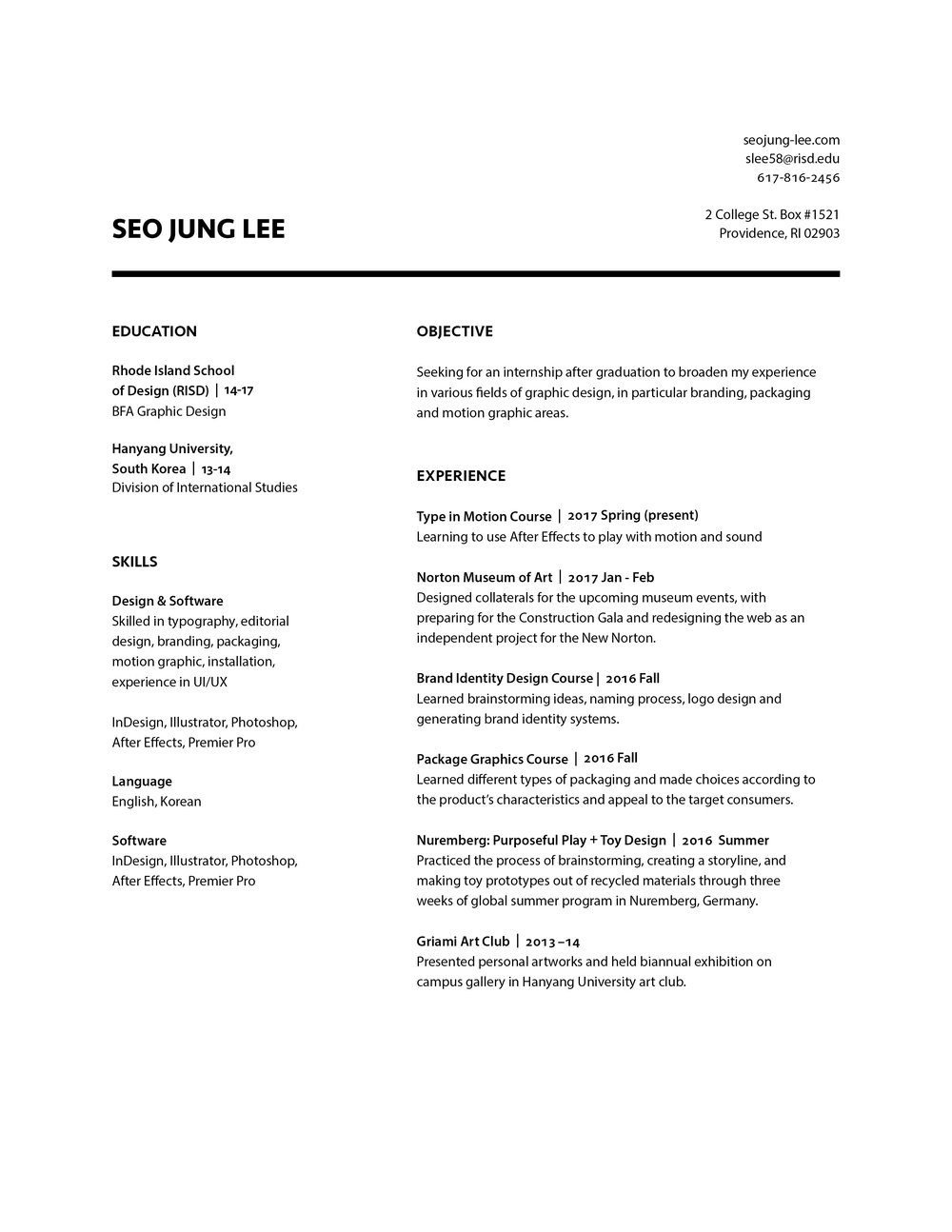 resume seo jung lee seo jung lee 2017