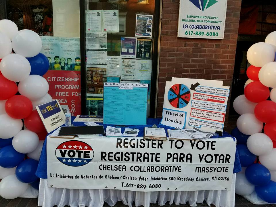 The Chelsea Collaborative sets up a voter registration and education table outside of their office.