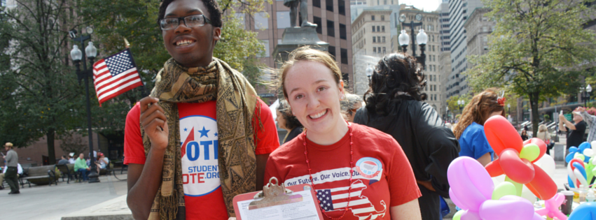 MassPIRG registers students to vote on campus.