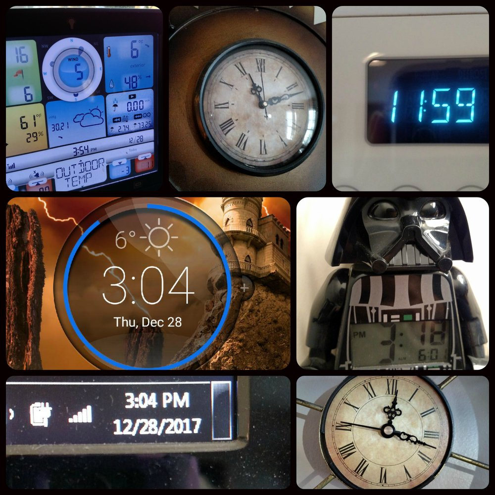 Oh, so many clocks...they surround us on appliances, technology, phones, Darth Vader alarm clocks, and old-fashioned wall clocks (my son learned to tell time via Roman Numerals at the ripe age of 4...he has a thing for clocks and schedules). Time is everywhere.