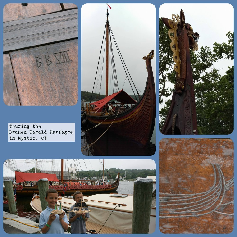 "Ahhhh Vikings...and Viking ships! Our trip last spring to see the  Draken Harald Harfagre  was misty and mystical in Mystic, CT. I asked lots of questions and stared in awe as I was in research mode. The kids got to ""steer"" at the steer board and we learned a lot about Viking (Norse) ships. The Draken impressed me to no end: 115-feet long, 26-feet wide, and built with 10,000 planks. Oh, and the hull was filled with rocks!"